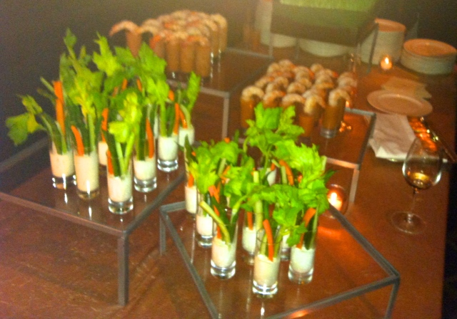 I appreciate food in shot glasses. Who wouldn't love shrimp in gazpacho and crudite?